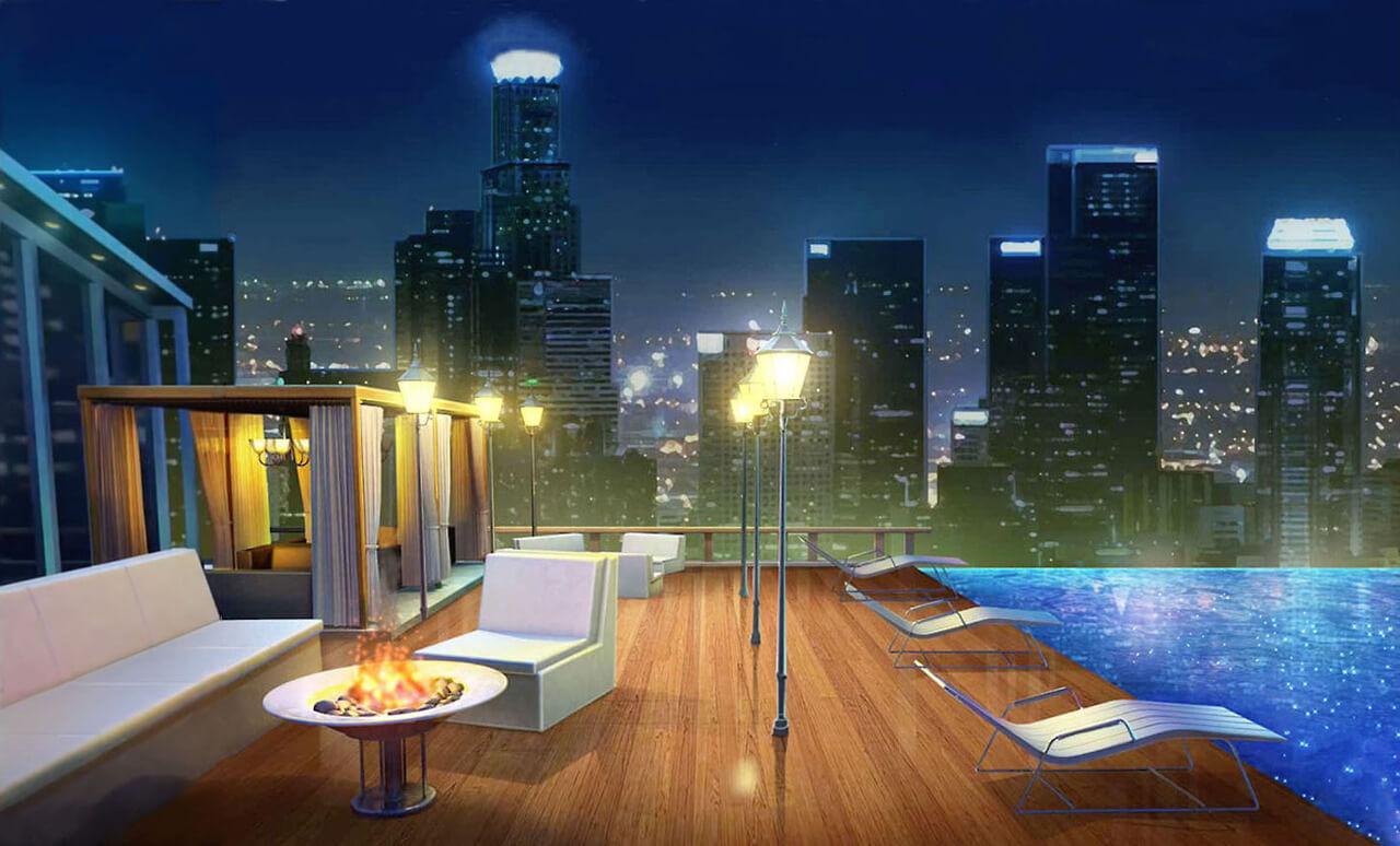 Những chiếc đèn đứng được lắp đặt trên sân thượng càng làm cho không gian thêm màu sắc, lung linh