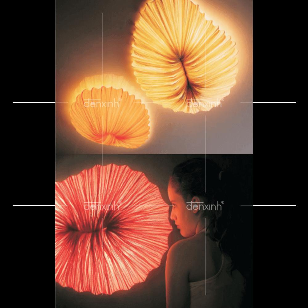 Đèn áp trần/tường lụa nhăn hình con sò