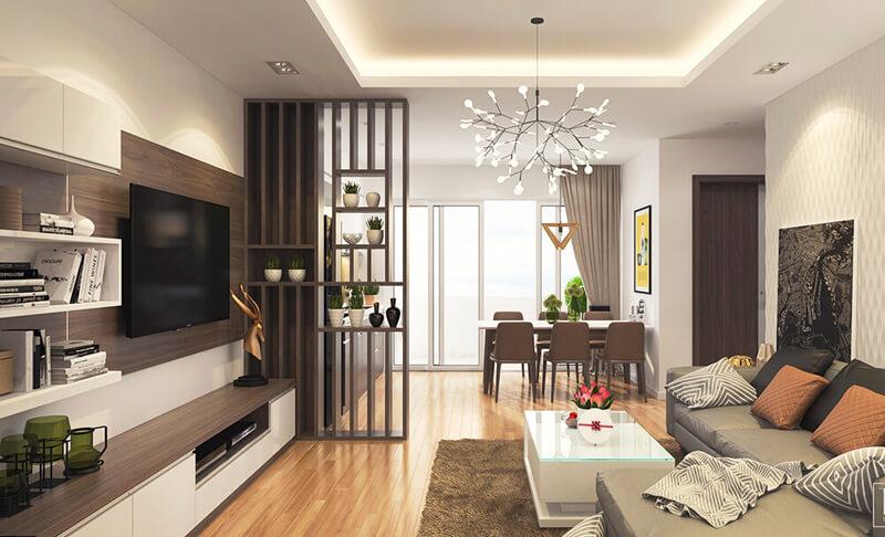 Với không gian phòng khách nhỏ, bạn nên lựa chọn mẫu đèn chùm giản đơn, có kích thước vừa phải