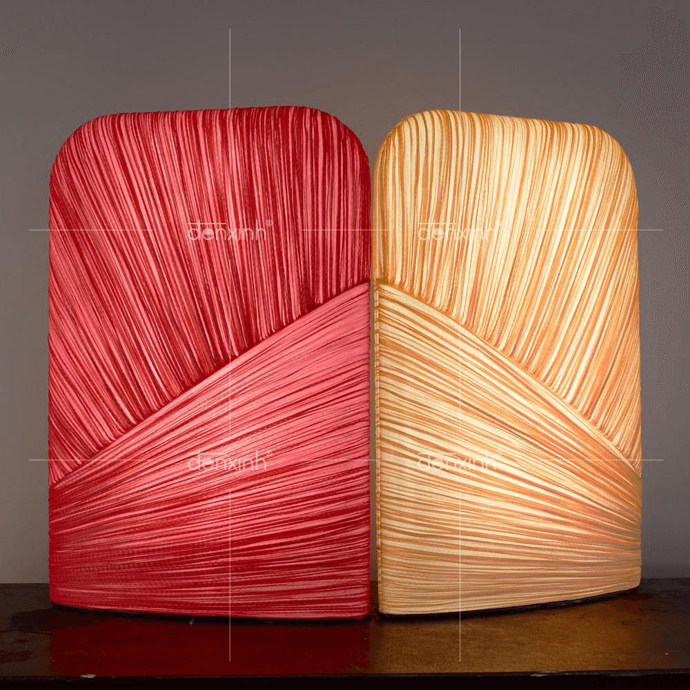 Đèn đứng vải cuốn lụa nhăn chữ nhật bo góc