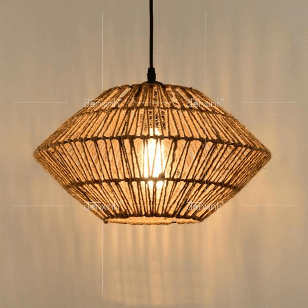 Mẫu đèn thả đĩa bay đan dây thừng nhẹ nhàng xinh xắn của Đèn Xinh