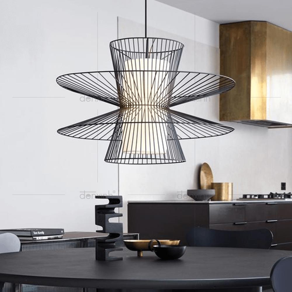 Đèn treo đĩa bay kép lồng sắt ống vải mới lạ của Đèn Xinh