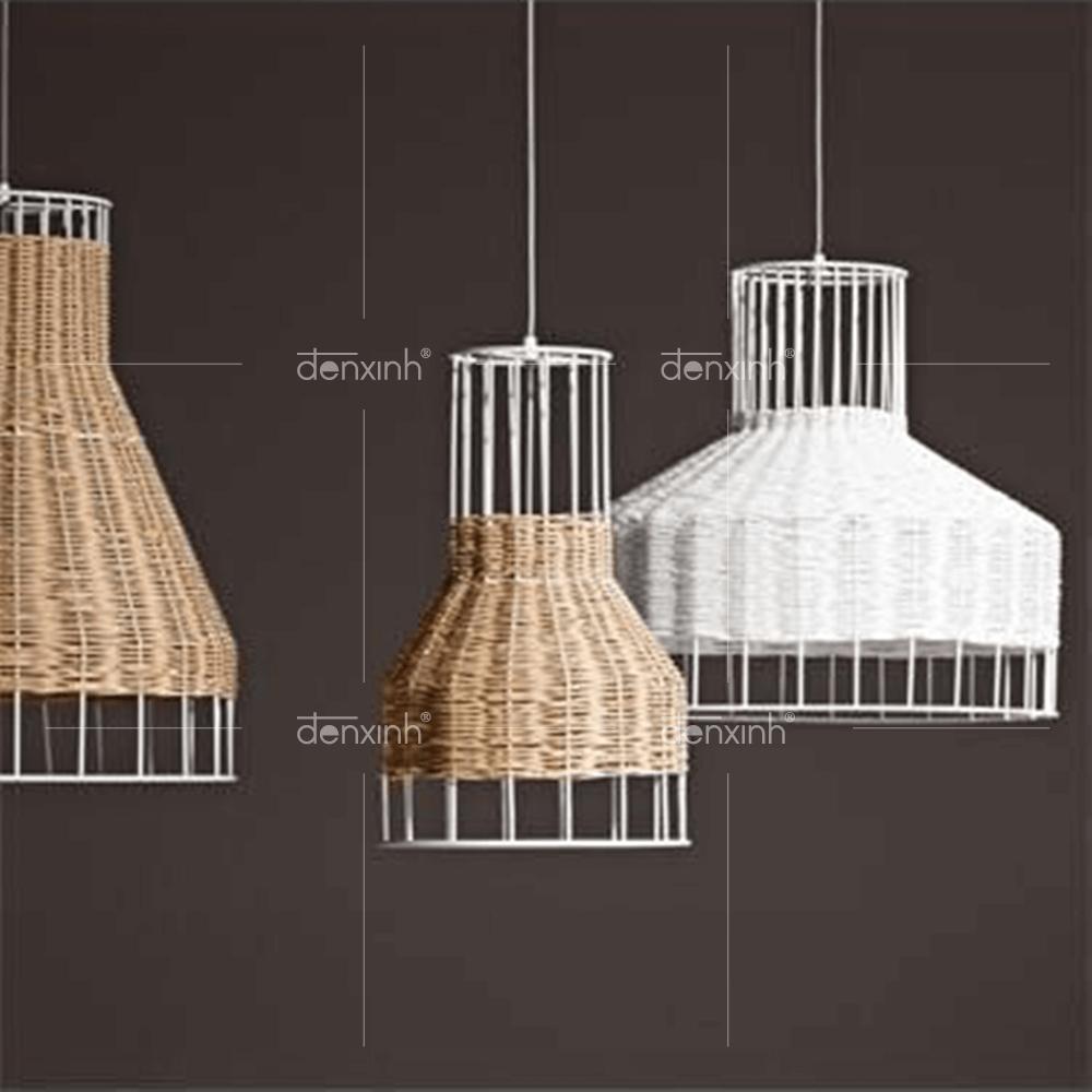 Ấn tượng với mẫu đèn thả hình phễu đan sợi mây tròn (dáng tròn) của Đèn Xinh