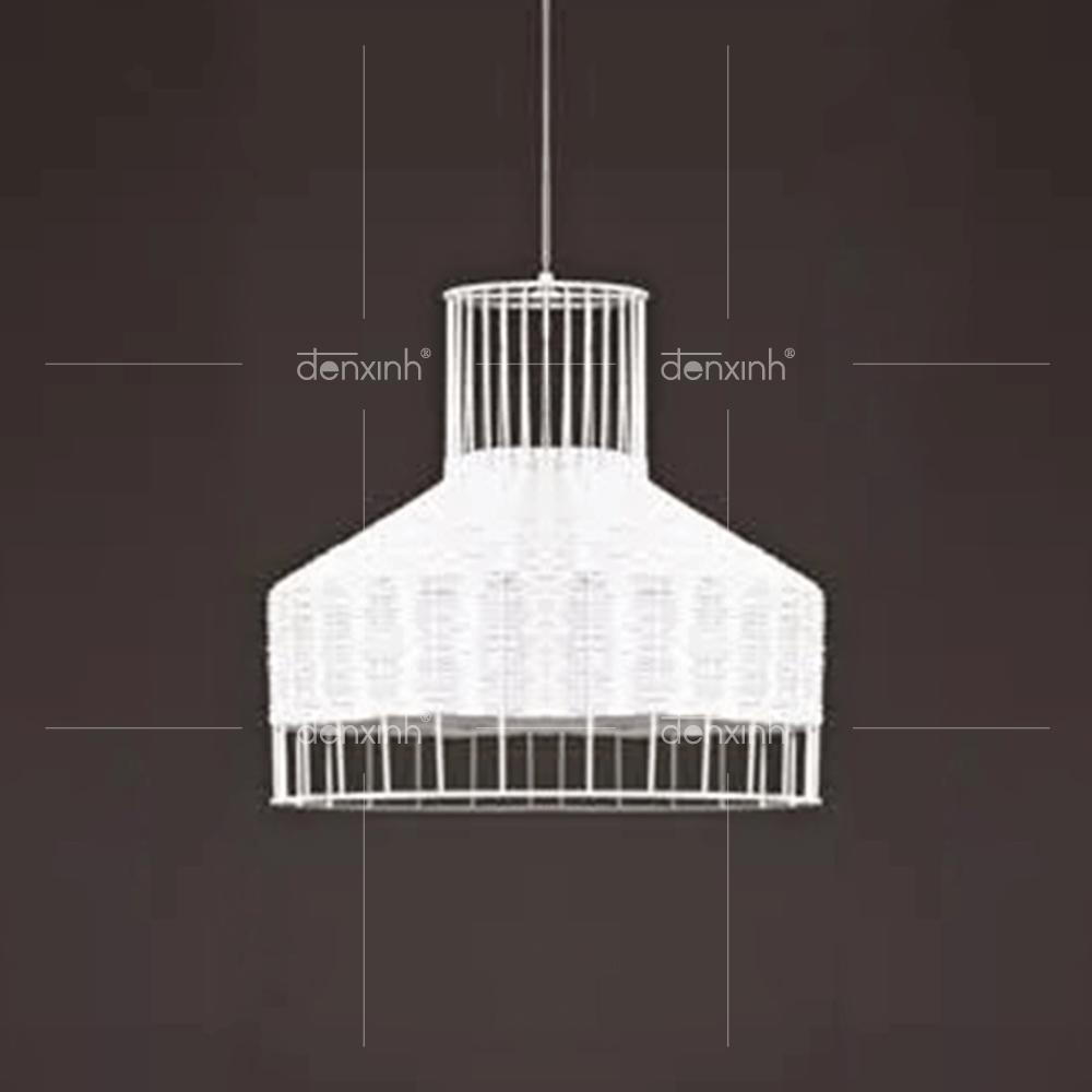 Đèn thả hình phễu đan sợi mây tròn (dáng tròn) ấn tượng của Đèn Xinh