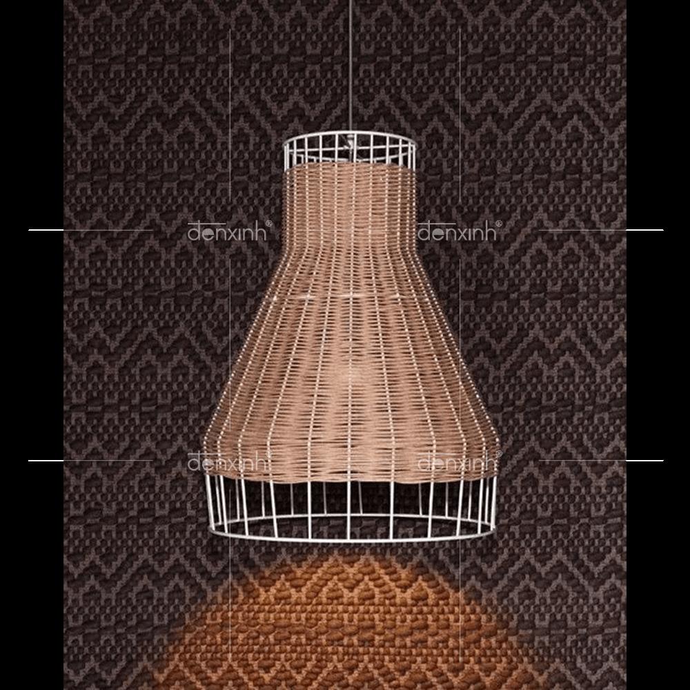 Đèn treo hình phễu đan sợi mây tròn (dáng ốm)