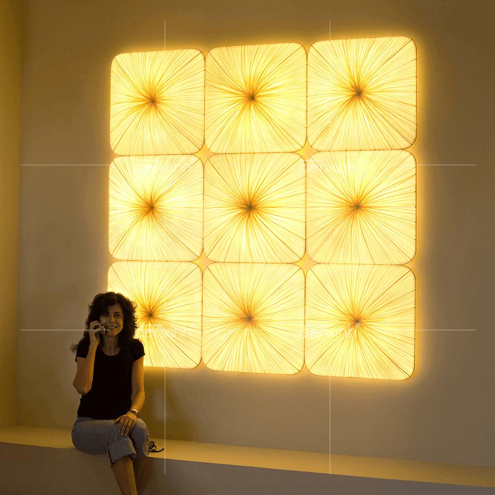 Đèn Áp Tường decor Vuông Bầu Lụa Nhăn